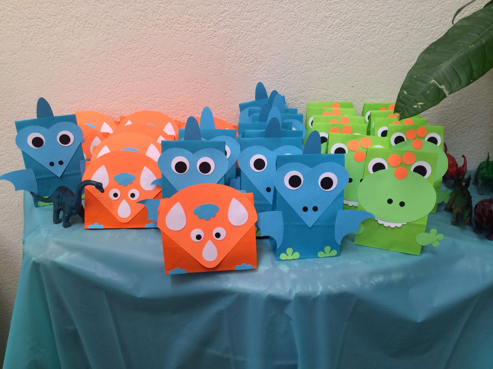 Favor bags dinosaur toddler party AJs 2nd birthday Pinterest