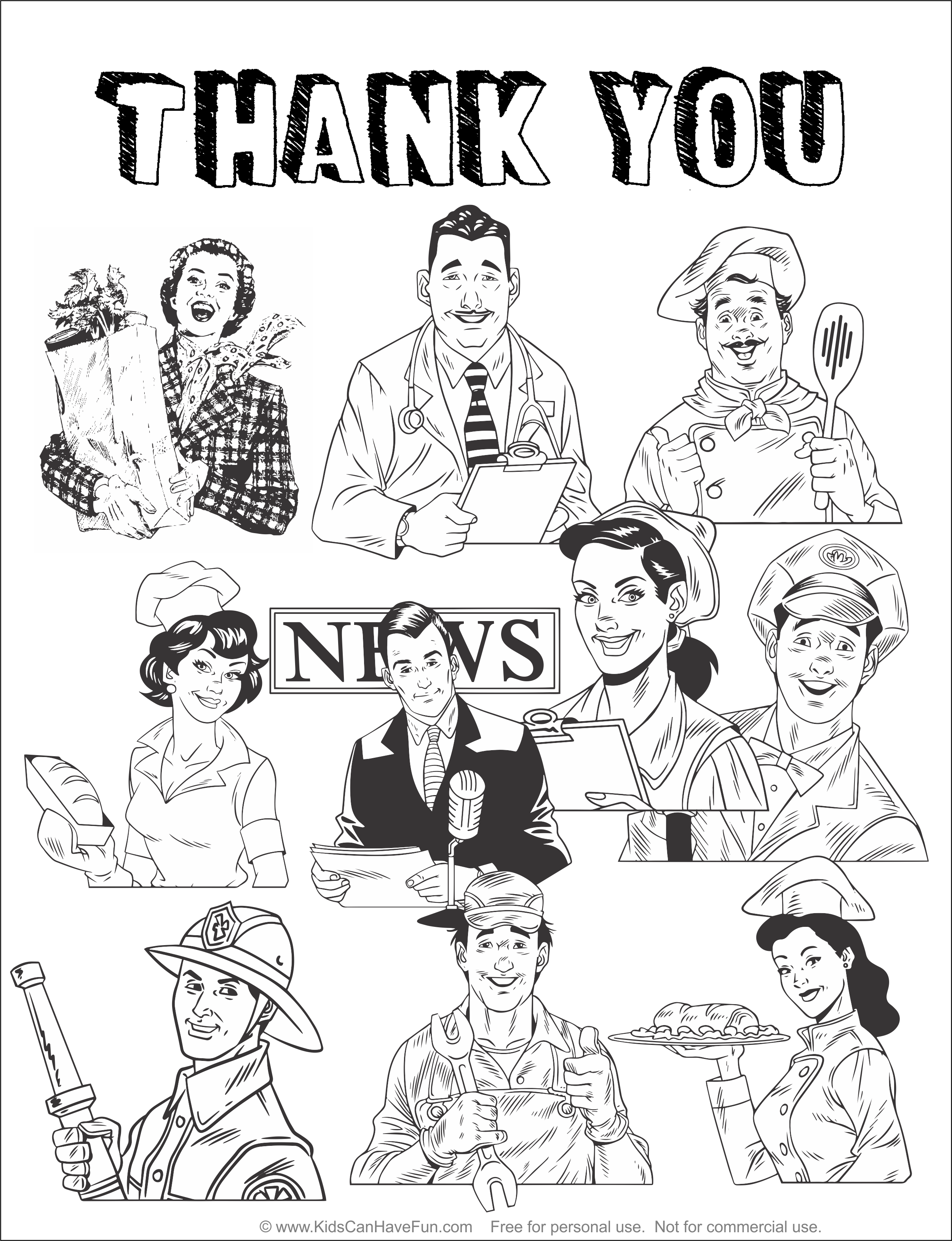 Thank You To All The Essential Workers Coloring Pages Coloring Pages For Kids Printable Coloring Pages
