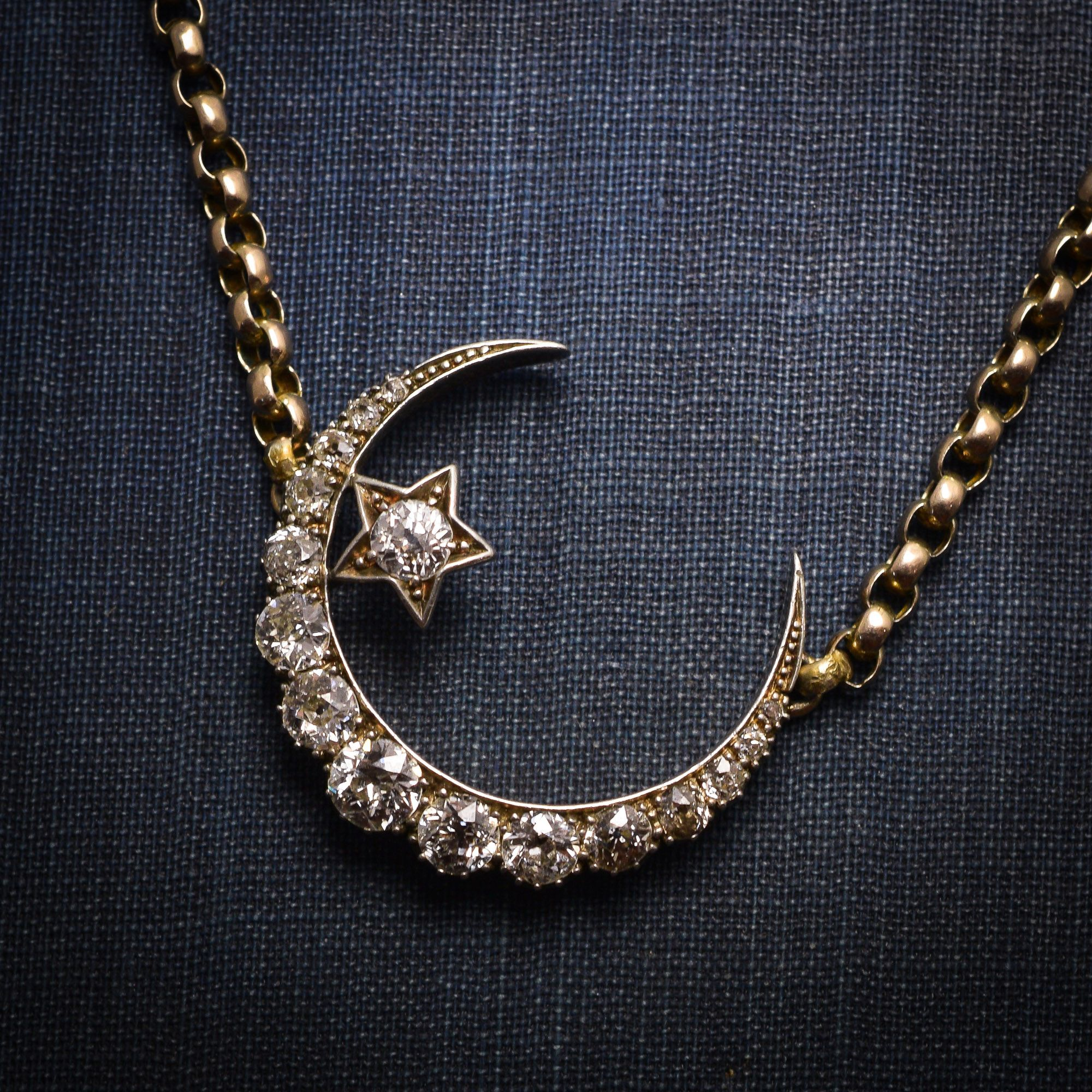 necklace pendant silver indie pin moon half and