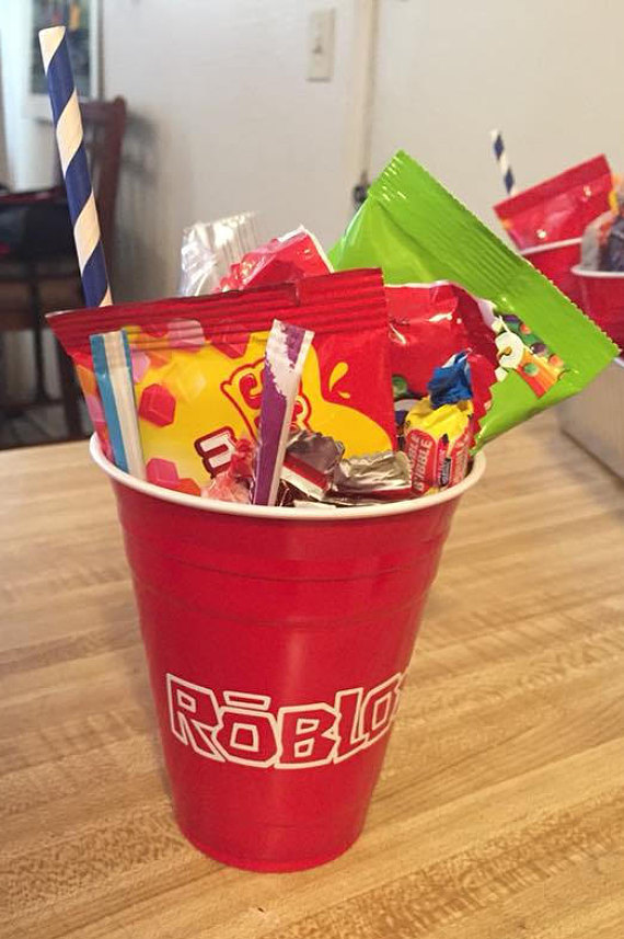 Roblox Inspired Party Favor Cups Banner Bags And Balloons - roblox tumbler