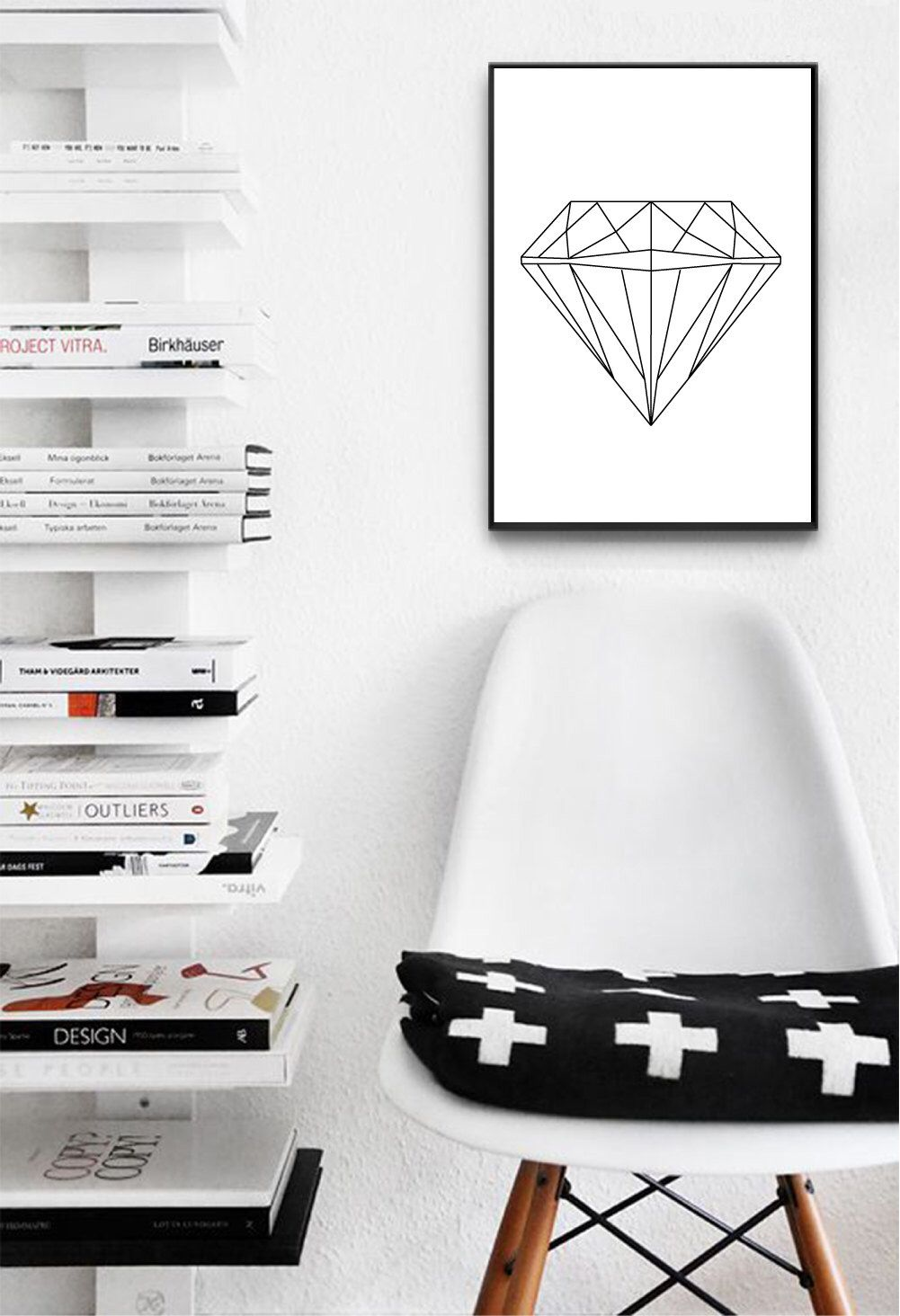 Affiche Scandinave Home Diamond Printable Wall Art Affiche Scandinave Geometric