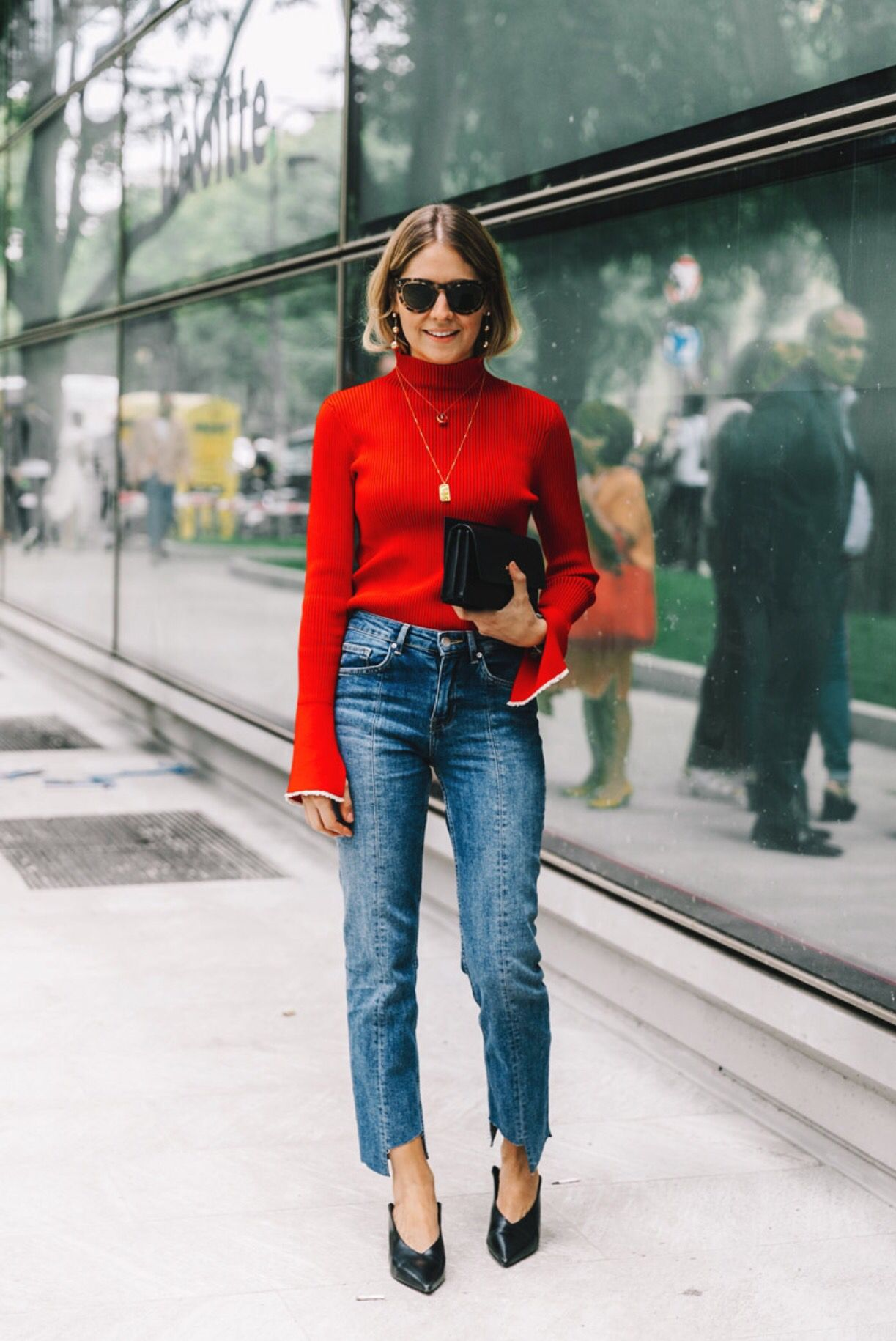 Red Turtleneck Modestil Outfit Outfit Ideen