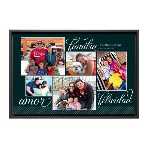 Amor Familia Felicidad Canvas Print, Black, Single piece, 24 x 36 inches, Black