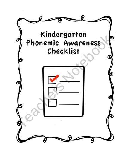 Kindergarten Phonemic Awareness Checklist from Miss Campos