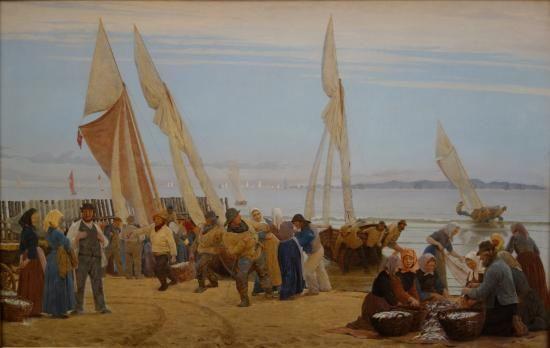 Peder Severin Krøyer: Morning at Hornbæk. The Fishermen come ashore