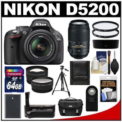 Nikon D5200 Digital Slr Camera 18 55mm G Vr Dx Af S Zoom Lens Black With 55 300mm Vr Lens 64gb Ca Best Digital Slr Camera Nikon D5200 Best Digital Camera