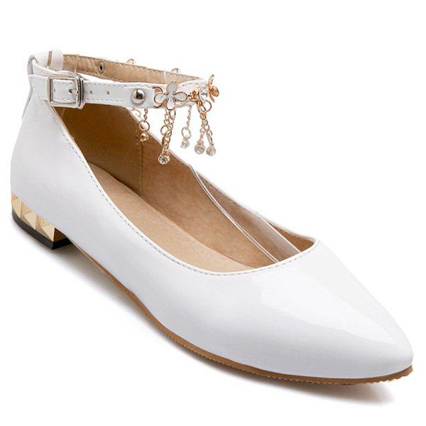 Casual Chains and Patent Leather Design Women's Flat Shoes #>=#>=#>=#>=#> Click on the pin to check out discount price, color, size, shipping, etc. Save and like it!