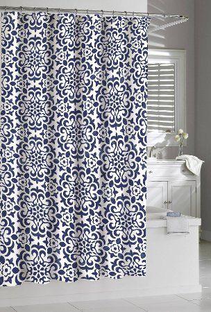Shower Curtain Kassatex Navy White Seawave Medallion Dark Indigo 72 X Cotton