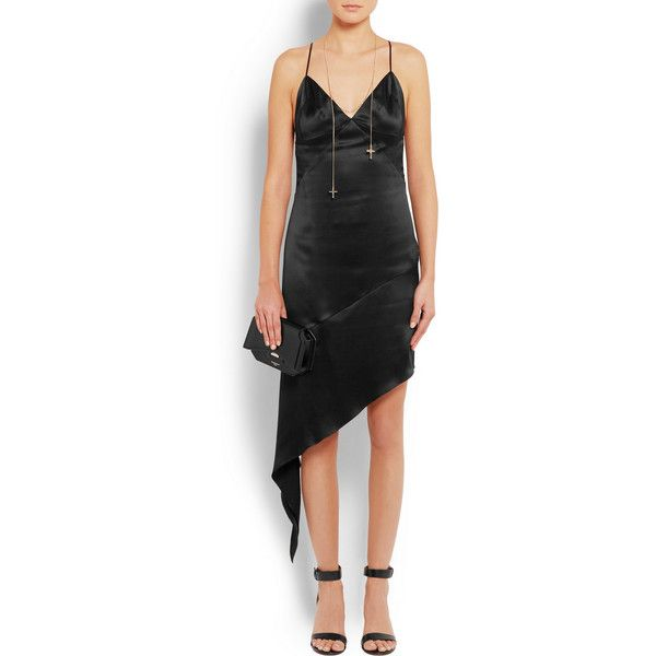 Givenchy Open-back midi dress in black silk-satin ($1,135) ❤ liked on Polyvore featuring dresses, draped midi dress, midi slip dress, open back cocktail dress, midi dresses and mid calf dresses