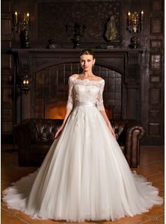Ball-Gown Off-the-Shoulder Court Train Tulle Charmeuse Lace Wedding Dress (002067207) - JJsHouse