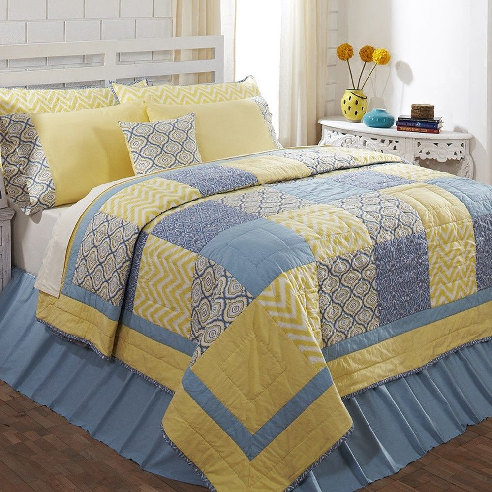 Blue Yellow Chevron Patchwork Twin Queen Cal King Country Home