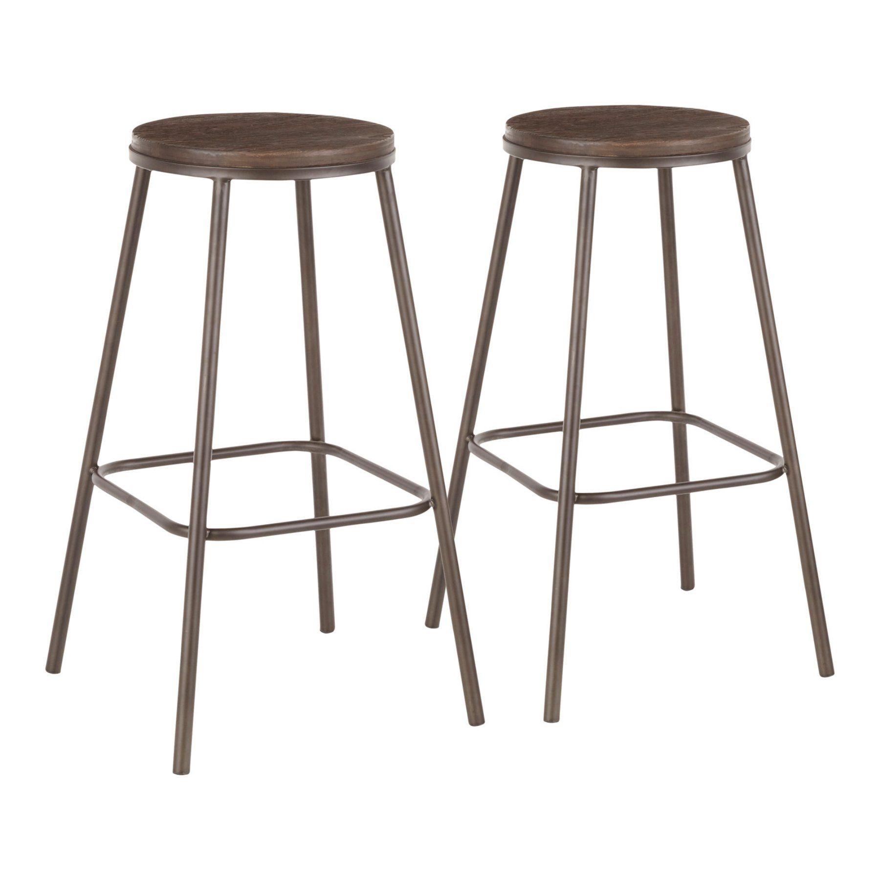Lumisource Clara 30 In Round Backless Bar Stool Set Of 2 Wood