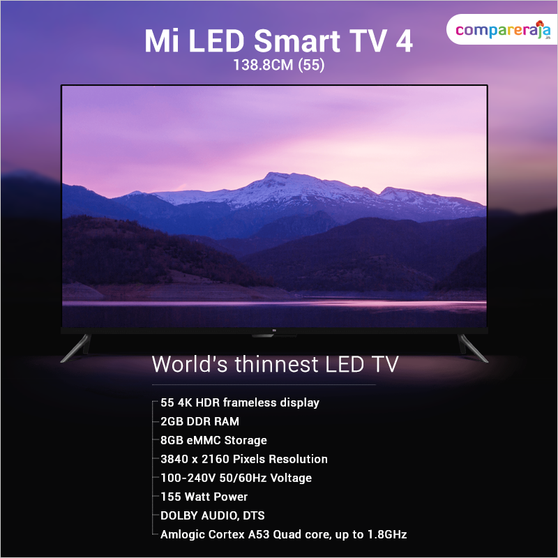 Xiaomi Mi Tv 4 55 Inch 4k Ultra Hd Smart Led Television Home Appliances Tvs Smart Tv Home Appliances