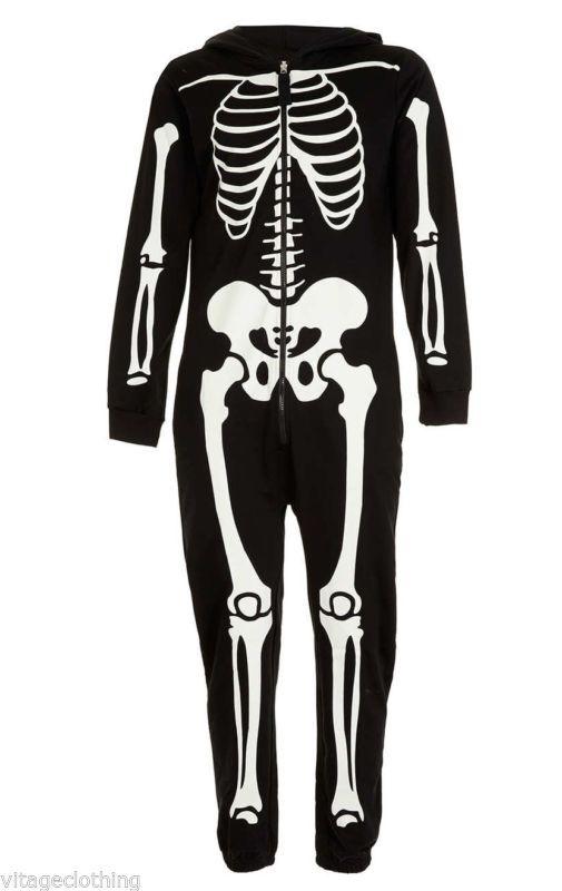 8155b7100b Mens Womens Unisex Halloween Skeleton All in One Costume Hooded ...