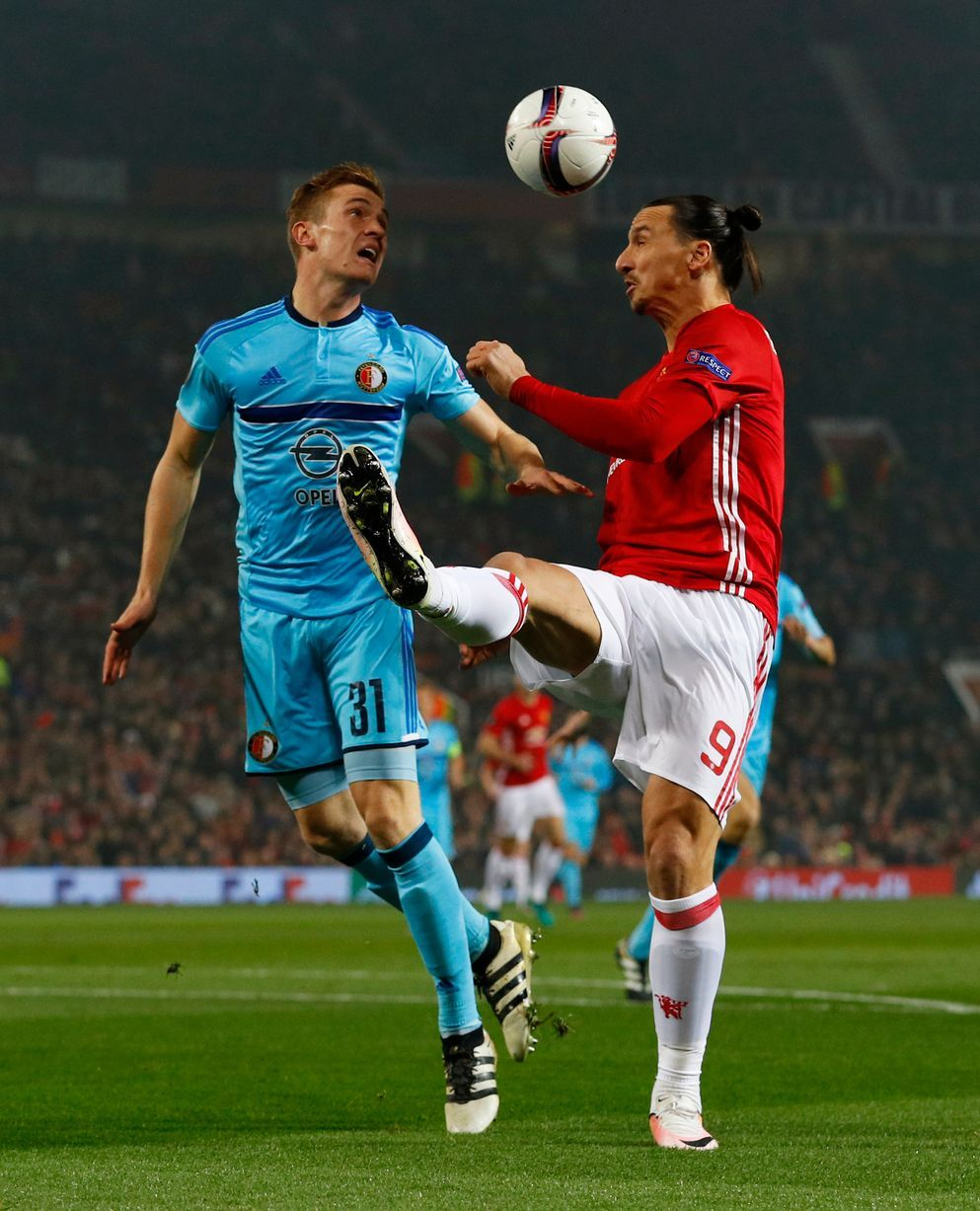 7611ecf62 Manchester United s Zlatan Ibrahimovic in action with Feyenoord s Wessel  Dammers