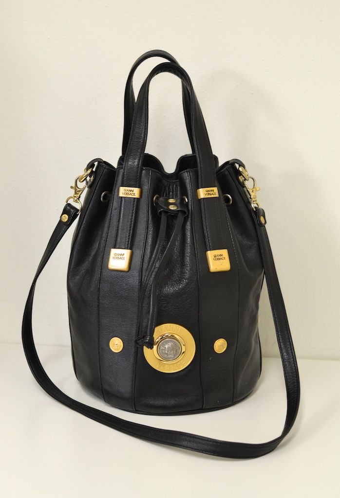 Vtg Gianni Versace Black Leather Bucket Bag Gaga Medusa Crossbody Purses