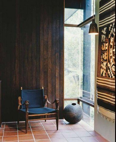 Wood walls   Blue chair   Interior inspiration