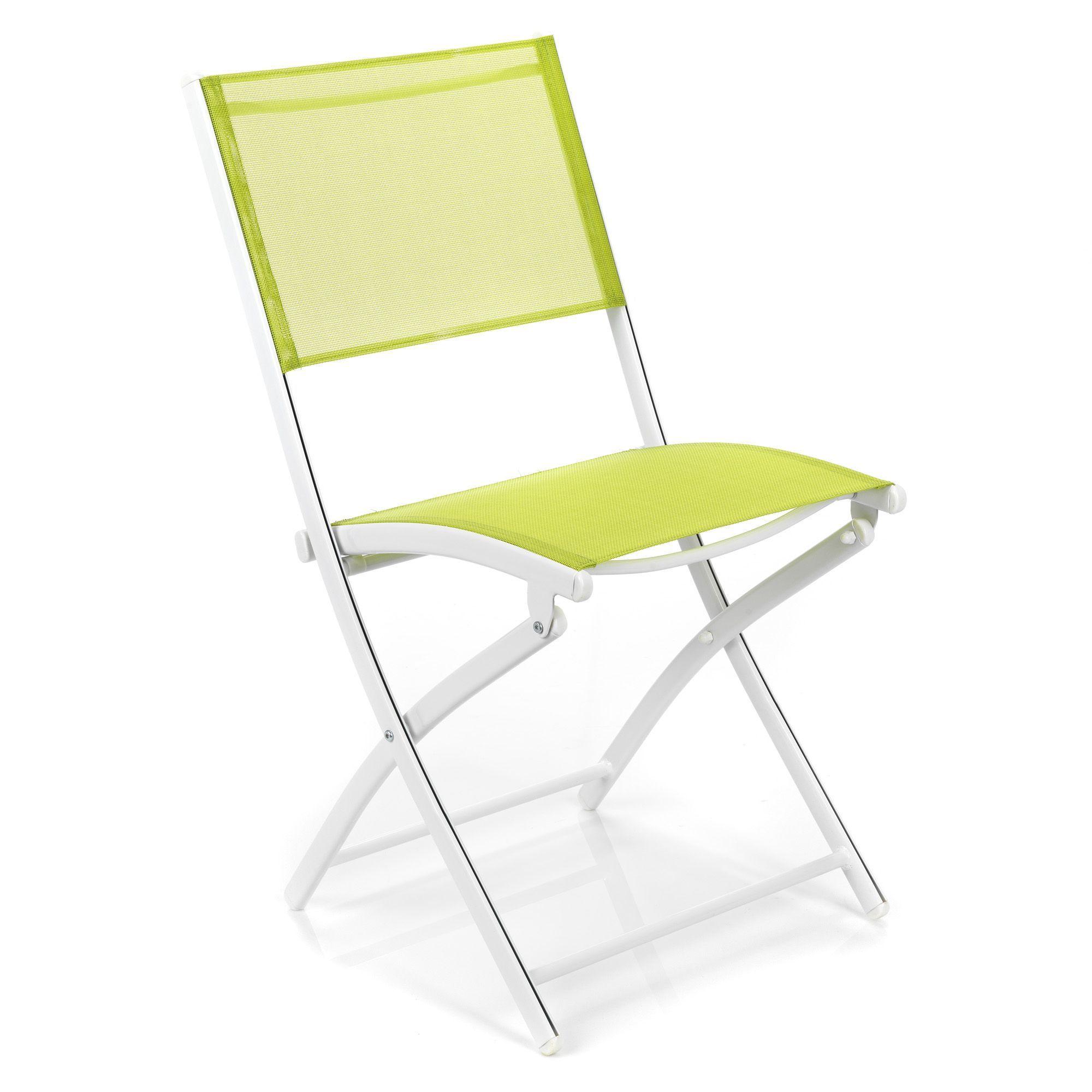 Chaise pliante de jardin blanc et vert Structure blanche ...