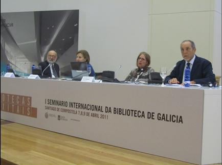 """I Seminario Internacional da Biblioteca de Galicia """"Ás bibliotecas dixitais"""". Santiago de Compostela. Biblioteca de Galicia, 7-9 de abril de 2011."""