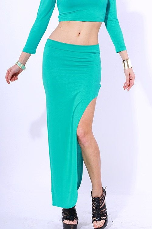 #clubwear21.com #dress #fashion Green fitted side slit evening party maxi skirt-$29.00