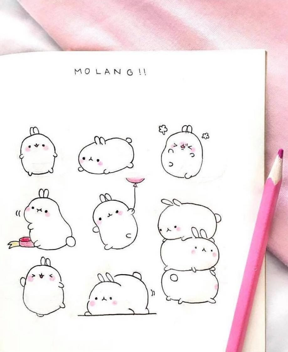Super Cute Molang Rabbit Doodles By Insta Tiny Bluewhale With