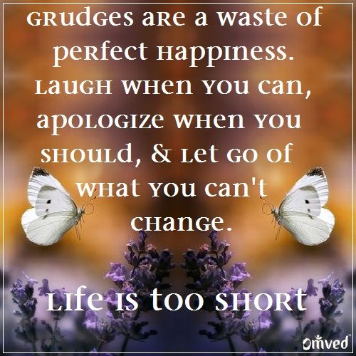 Short Daily Quotes To Live By: Grudges Are A Waste Of Perfect