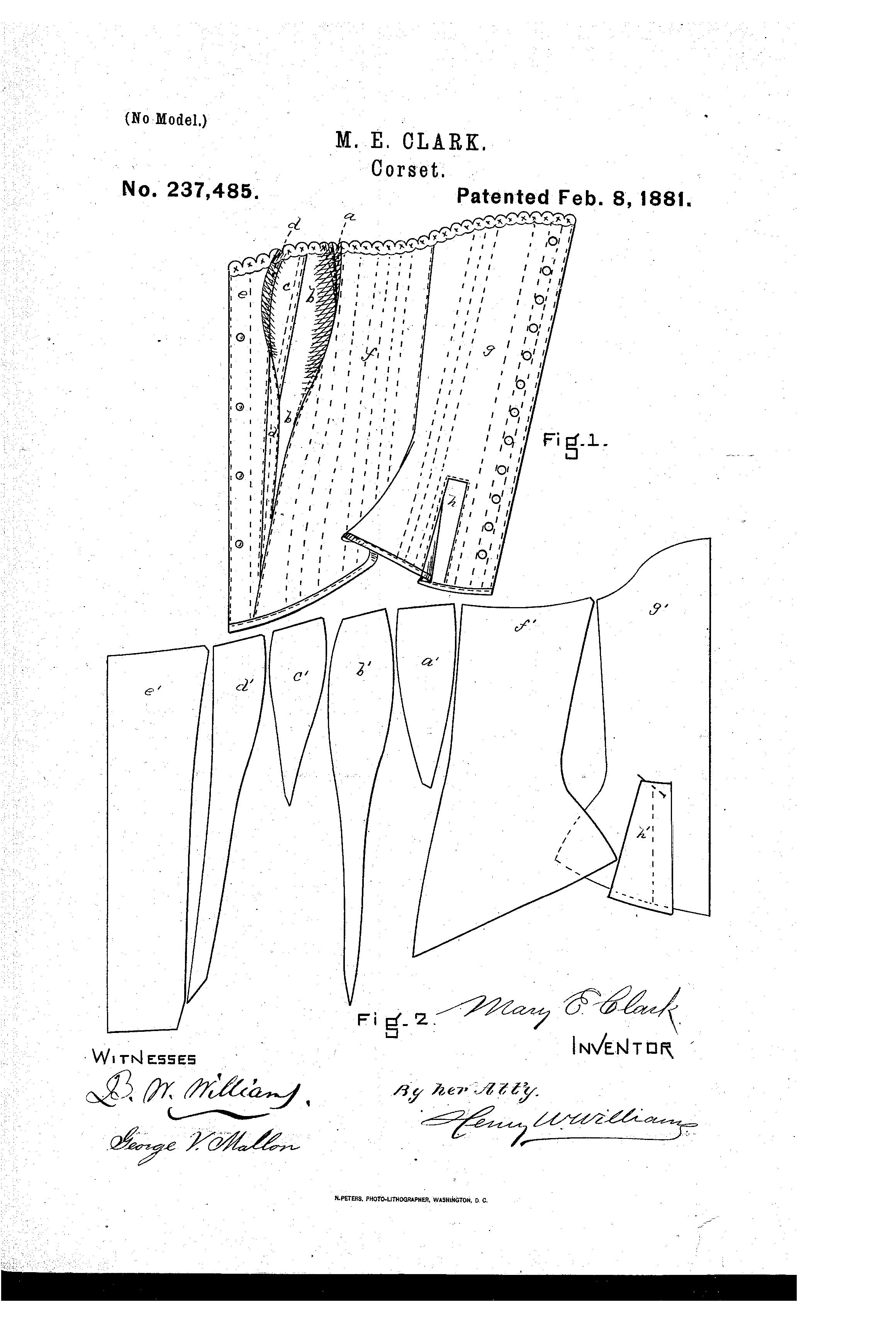 Patent US237485 - Corset - 1881 - Google Patents | Fűzők | Pinterest ...