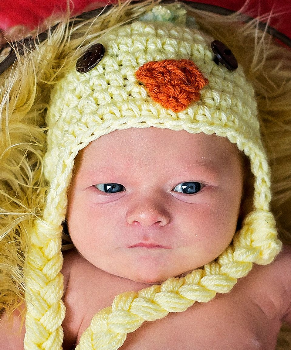 Love this Maddie's Mad Hatters Yellow Crochet Chick Prop Beanie by Maddie's Mad Hatters on #zulily! #zulilyfinds