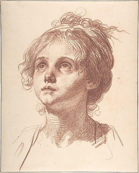 Head of a Girl Looking Up - Jean-Baptiste Greuze.