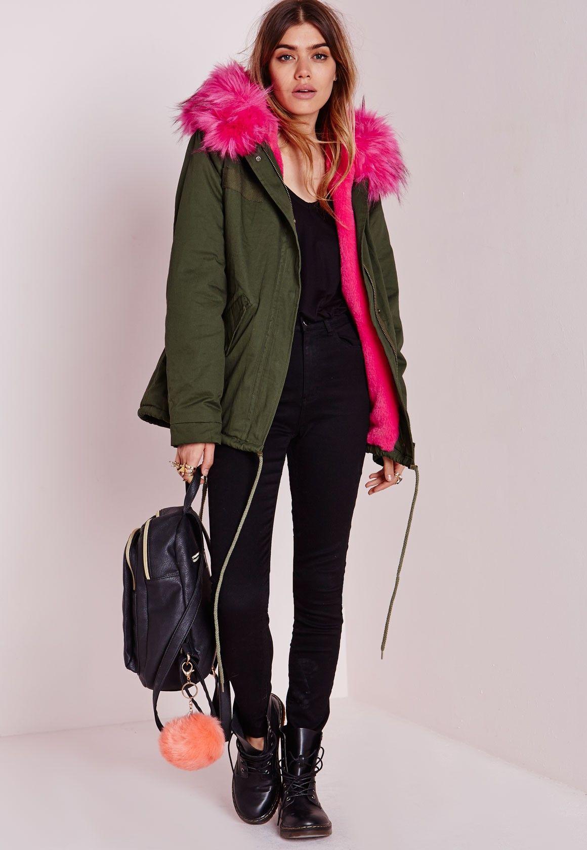 10b4d35913969 Missguided - Fur Hood Short Parka Coat Khaki/Hot Pink | outfit ...