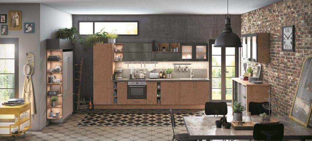 Cuisine Ixina Style Vintage Industriel Mur En Briques Carrelage - Carrelage mural cuisine avec motifs pour idees de deco de cuisine