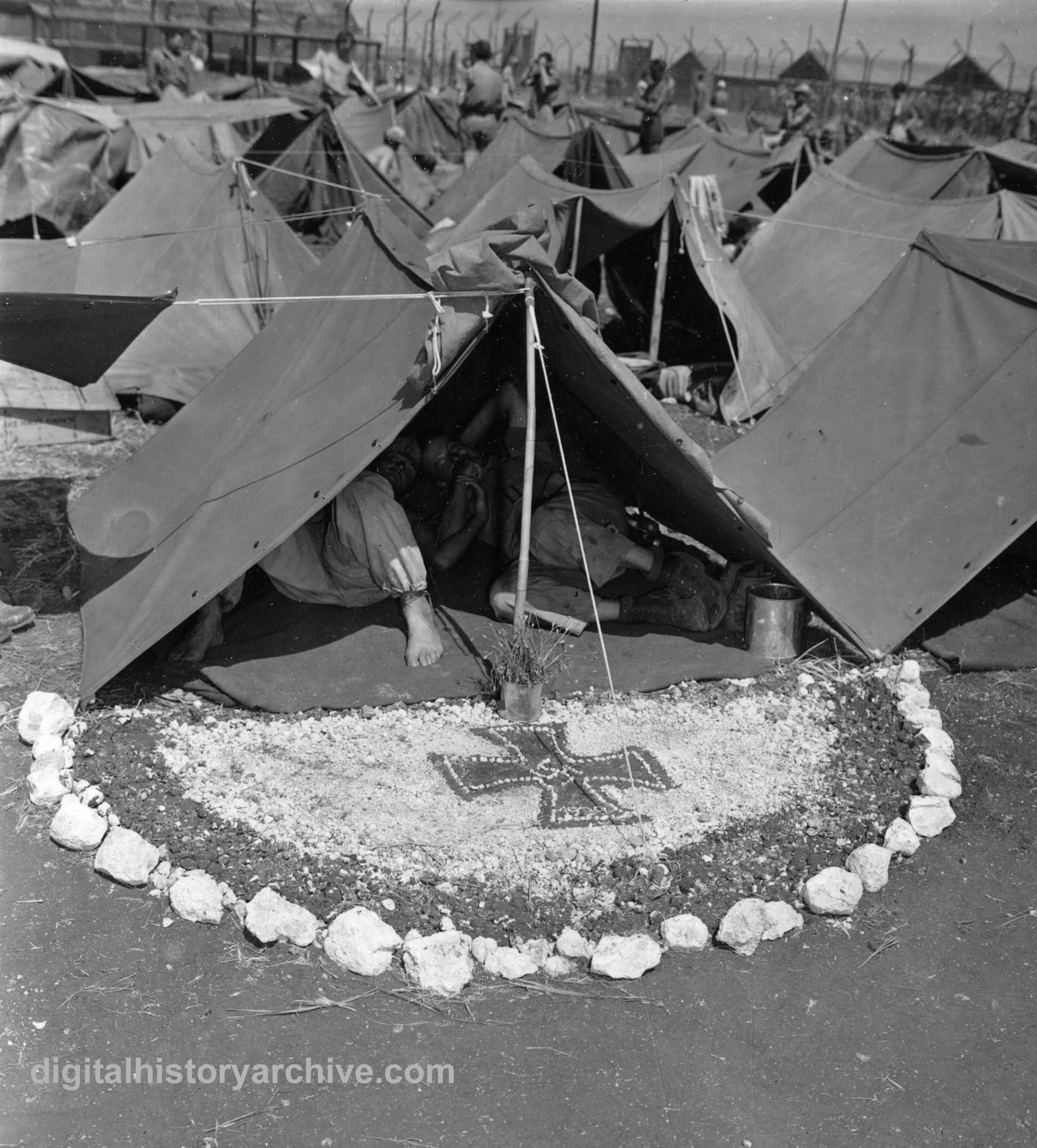 WWII 1943 - German prisoners in US Army provided pup tents. Casablanca Morocco & WWII 1943 - German prisoners in US Army provided pup tents ...