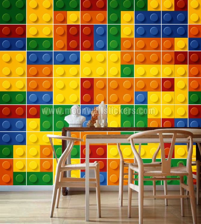 Bricks Wall Tiles Stickers Pack Of 49 Lego Wall Wall Stickers
