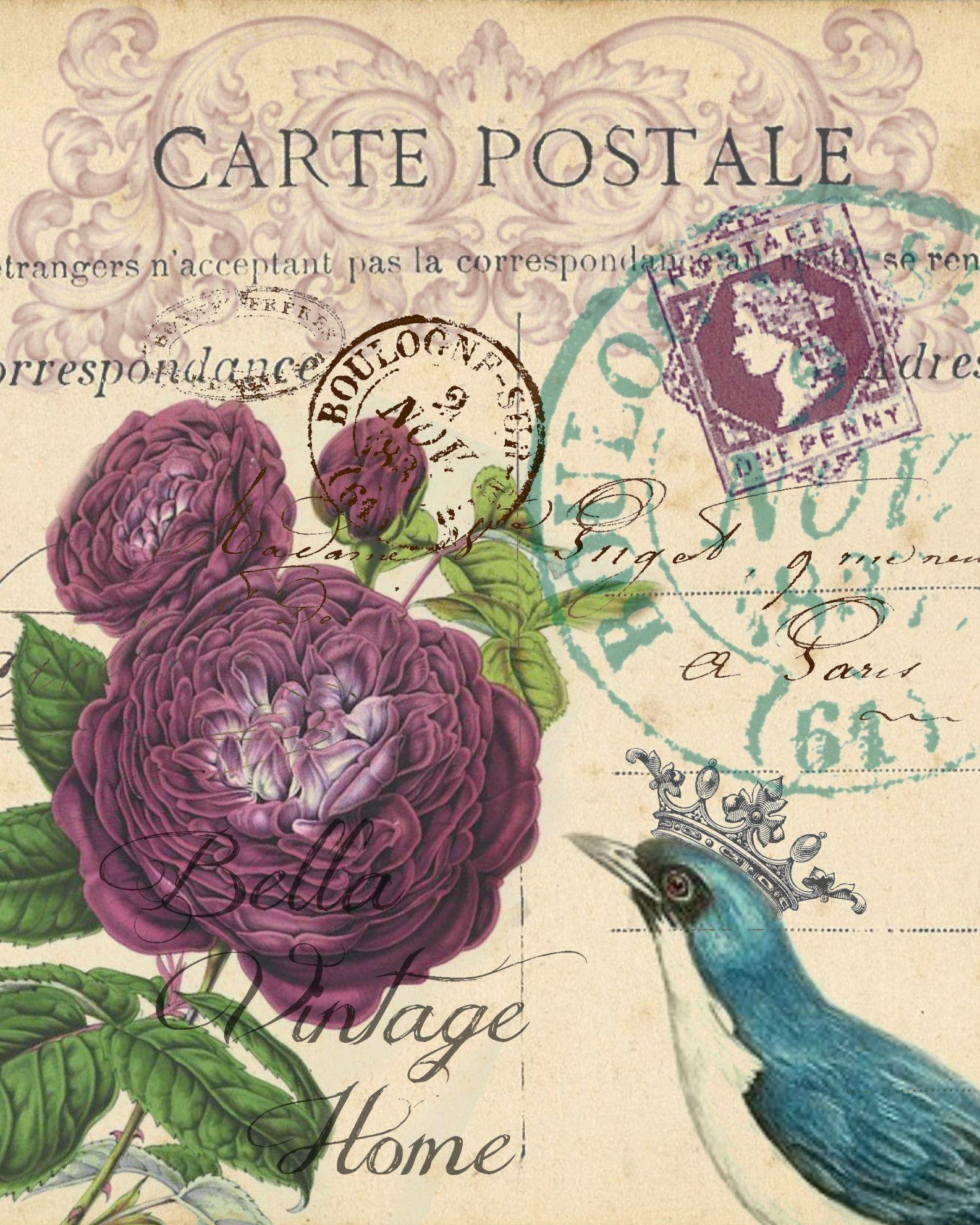 Botanical Purple Roses Carte Postale Print Pillow Note