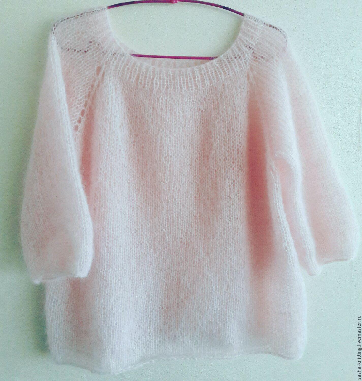 3973b2c71b9 Пуловер из нежнейшего мохера на шелке. Нежный и пушистый пуловер с рукавом  3 4
