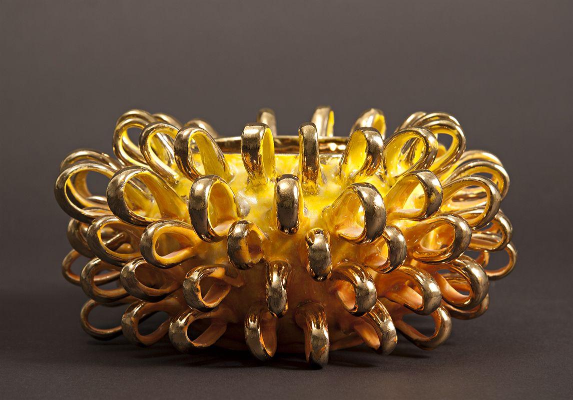 "Anastasia Gabriel, Golden Puff, 2012, Porcelain, Slips, Glazes, Gold Luster Overglaze, 8"" x 8"" x 4.25"""