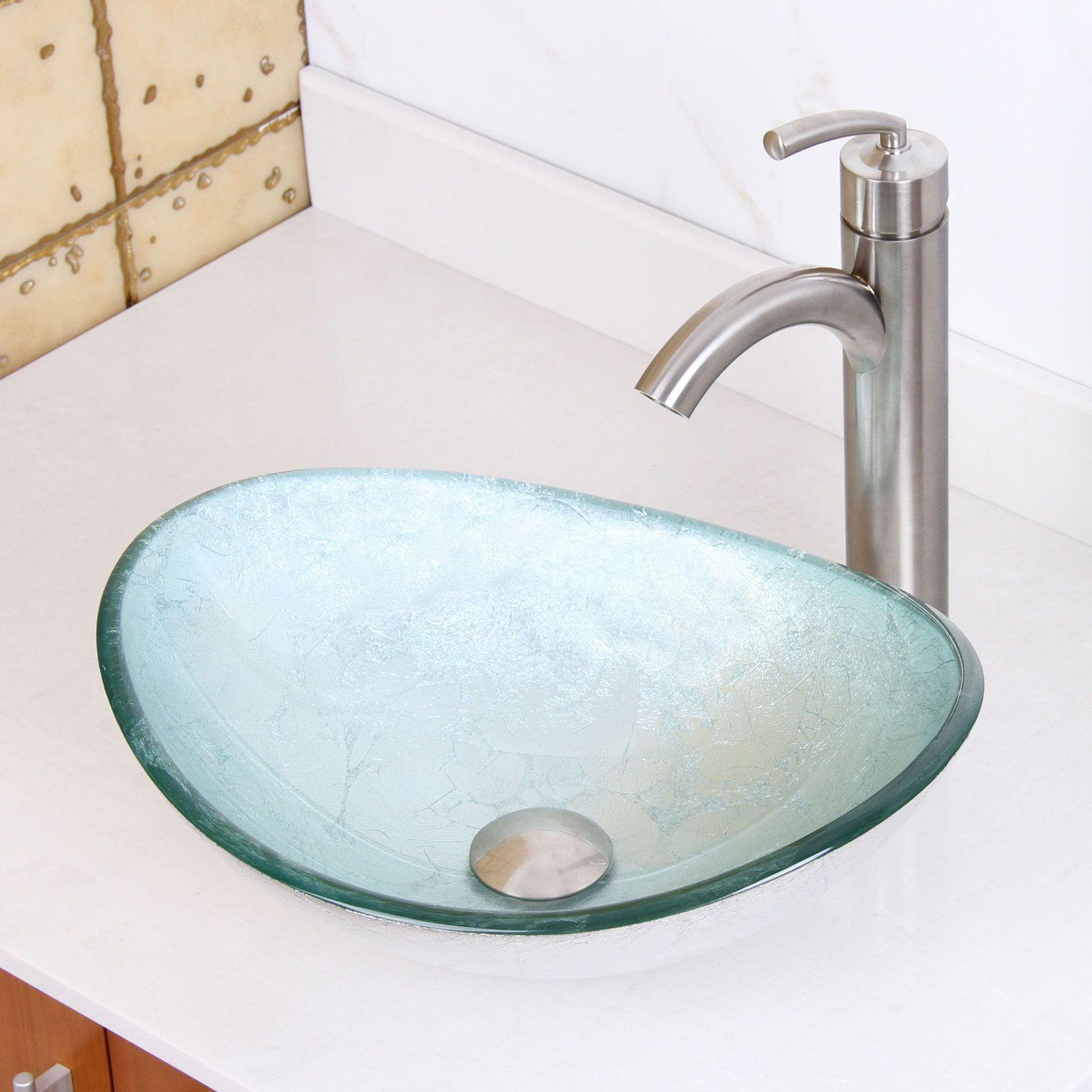 Elite Tempered Glass Oval Artistic Silver Bathroom Vessel Sink ...