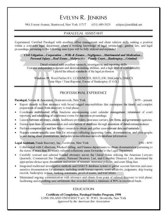 Paralegal Assistant Resume Examples Sample Resume Templates Resume Objective