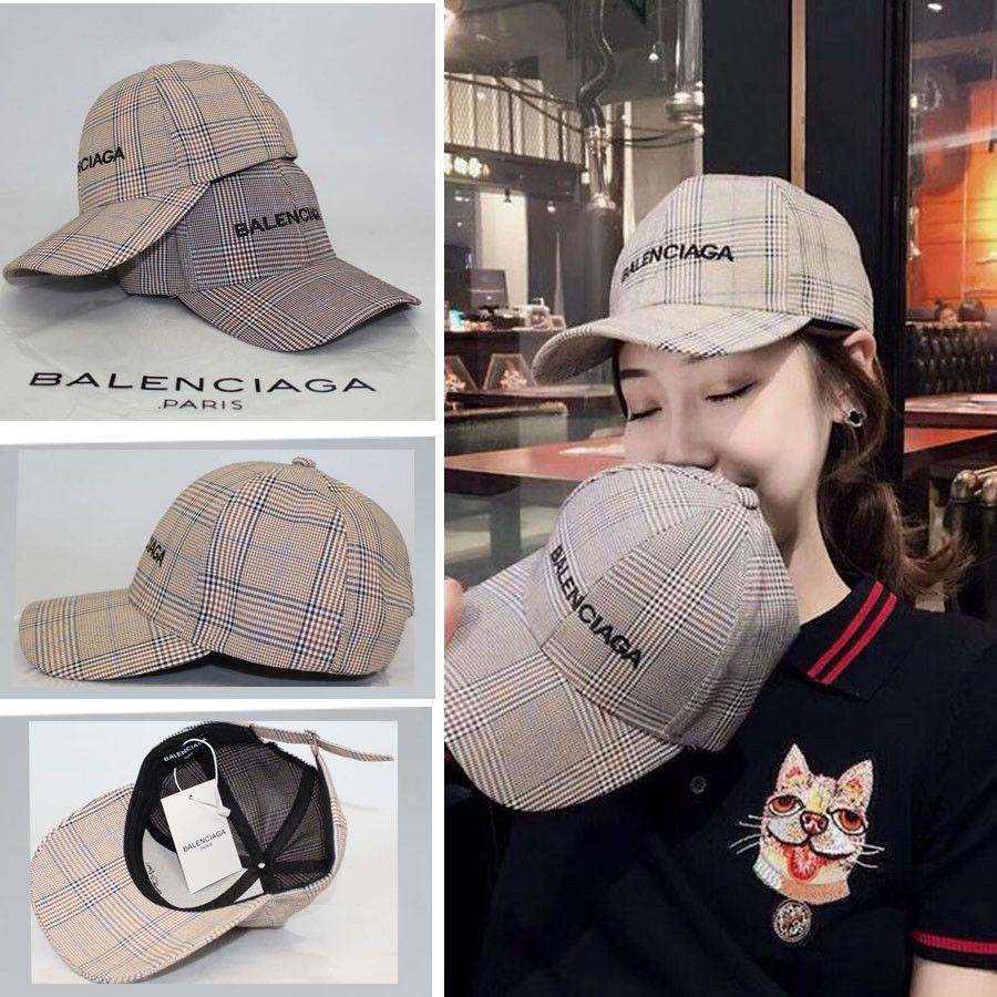 9eca12a5cce89  19.18 New Baseball Cap Balenciaga² Embroidery Lattice Adjustable Hat with  tags
