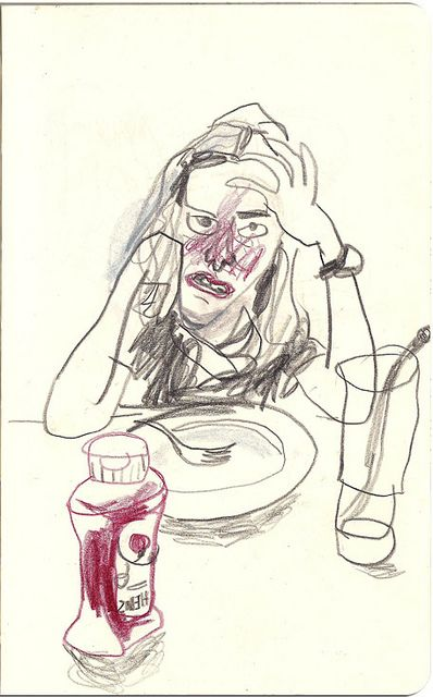 Min - this is a quick sketch I did of you when you don't like your supper!!