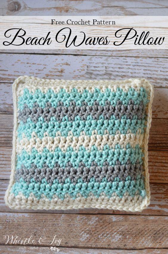 Crochet Beach Waves Pillow