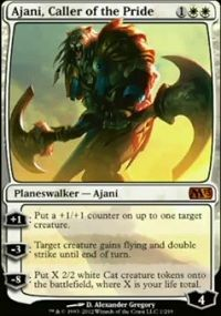 1: Put a 1/ 1 counter on up to one target creature.    -3: Target creature gains flying and double strike until end of turn.    -8: Put X 2/2 cats onto the battlefield, where X is your life total.