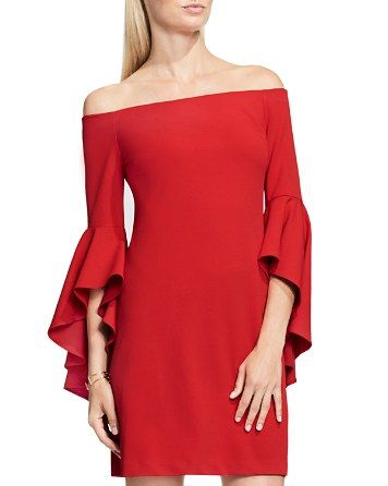 a1038896846 VINCE CAMUTO Off-The-Shoulder Bell Sleeve Dress - Bloomingdale s ...