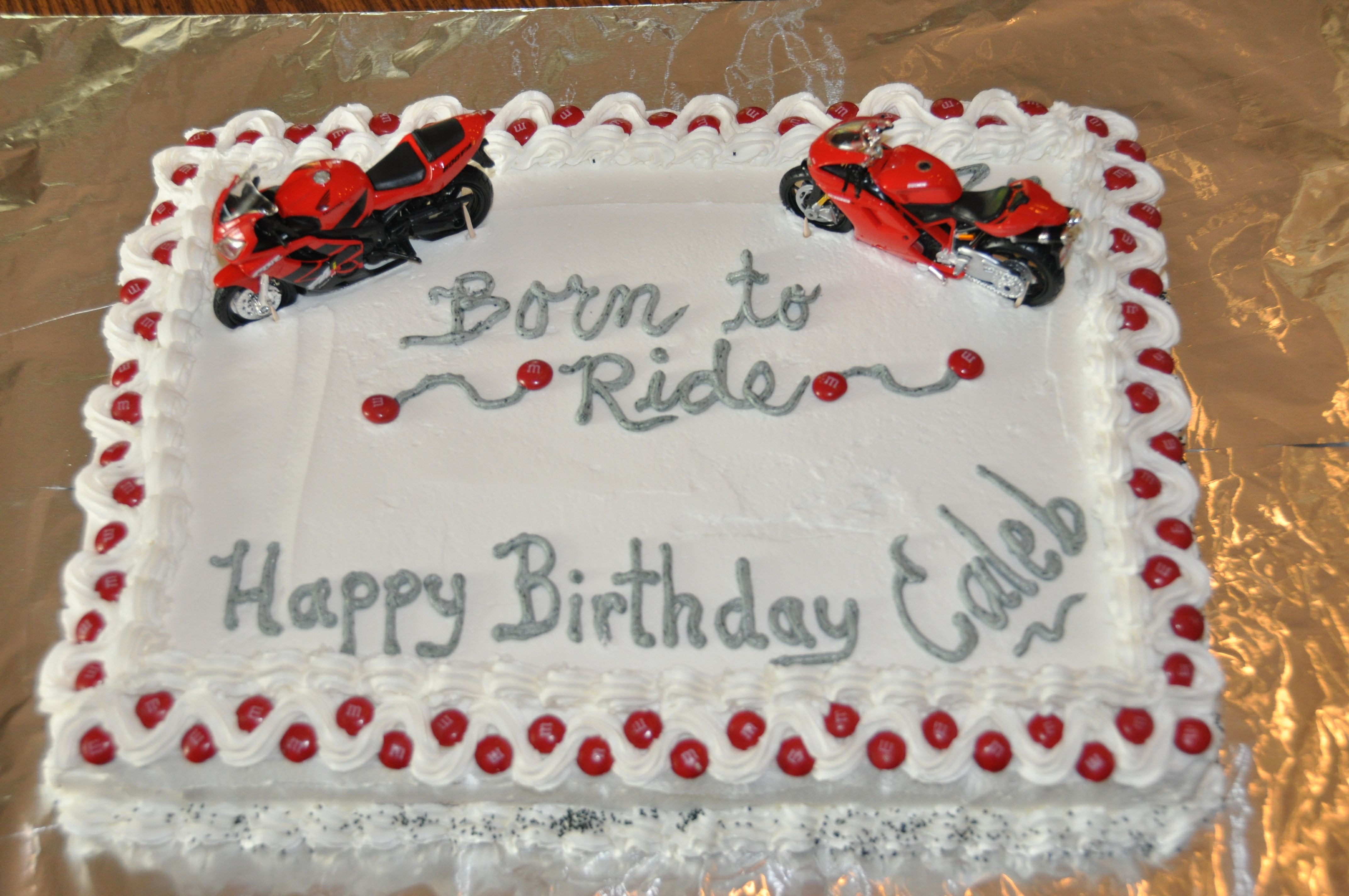 Red black and white motorcycle birthday cake birthday ideas