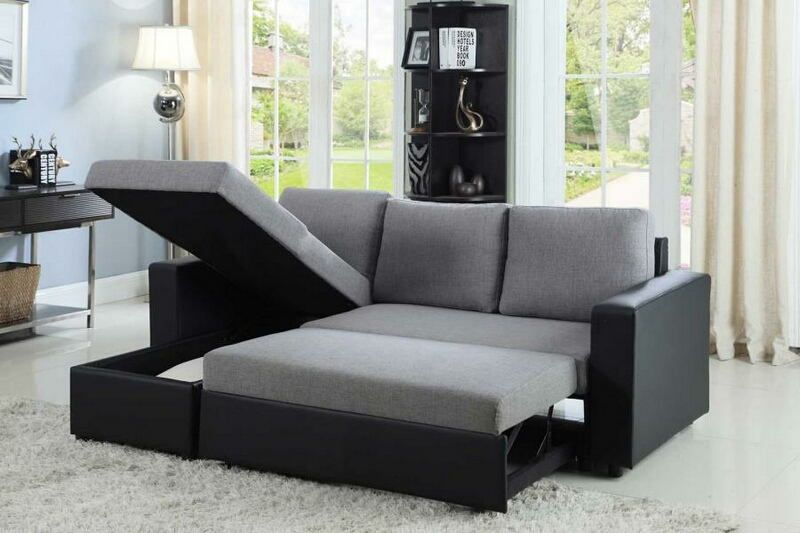 2 pc Everly collection contemporary style grey fabric black