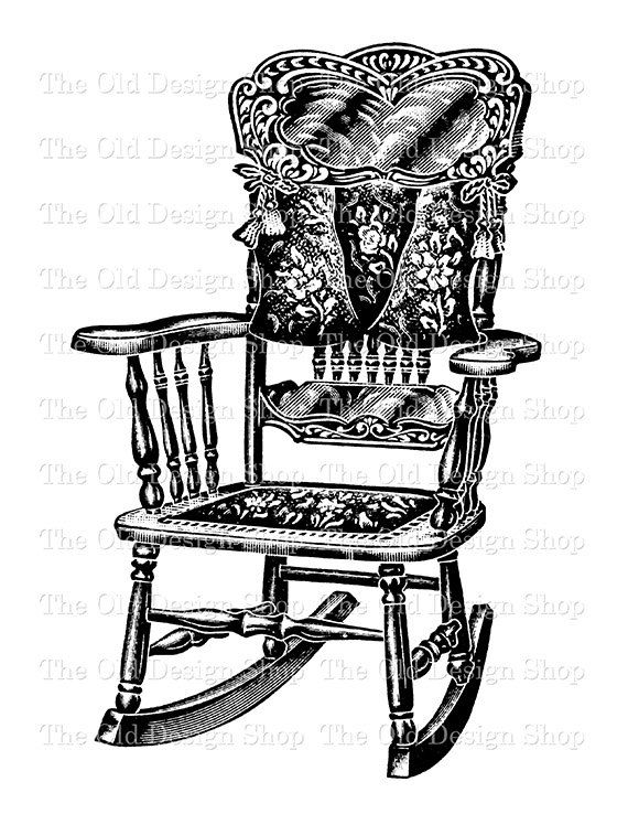 Rocking Chair Vintage Commercial Use Clip Art Digital Stamp Transfer Image Png Jpg Rocking Chair Chair Rocking Chair Pads