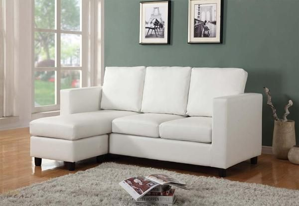 Cream Eco Leather Small Condo Apartment Sized Sectional Sofa With