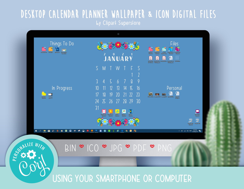 2021 Mexican Calendar Desktop Wallpaper Organizer Planner And Icon Digital Download Files Blue In 2020 Desktop Wallpaper Organizer Planner Organization Desktop Calendar