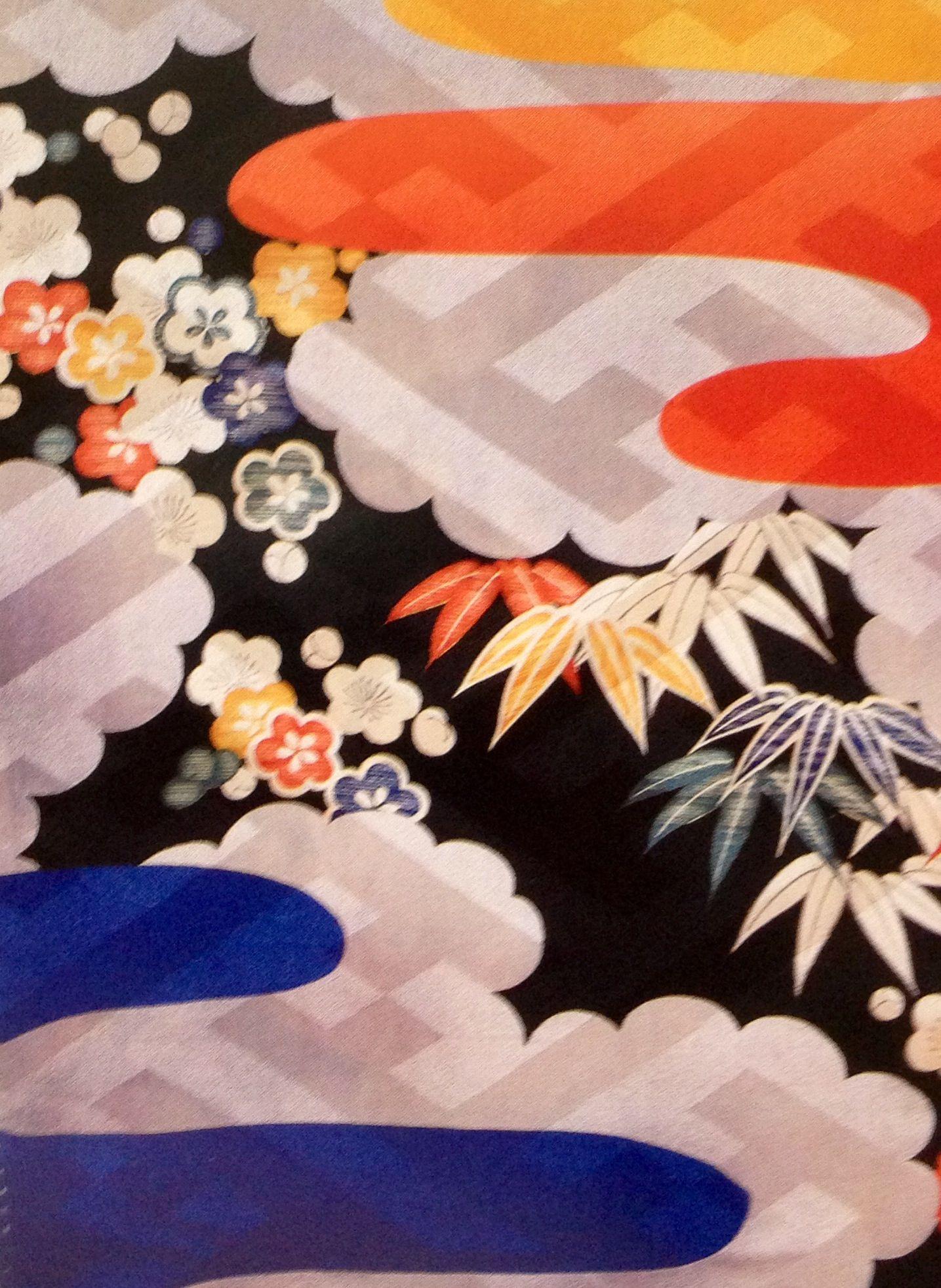 Vintage Kimono Japanese Fabric 1987 Japanese Embroidery Sewing