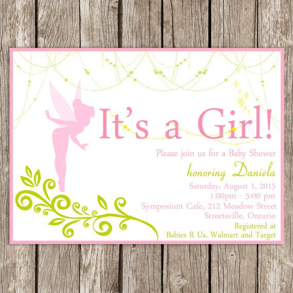 Fairy Baby Shower Invitation Tinkerbell By Littlemsshutterbug